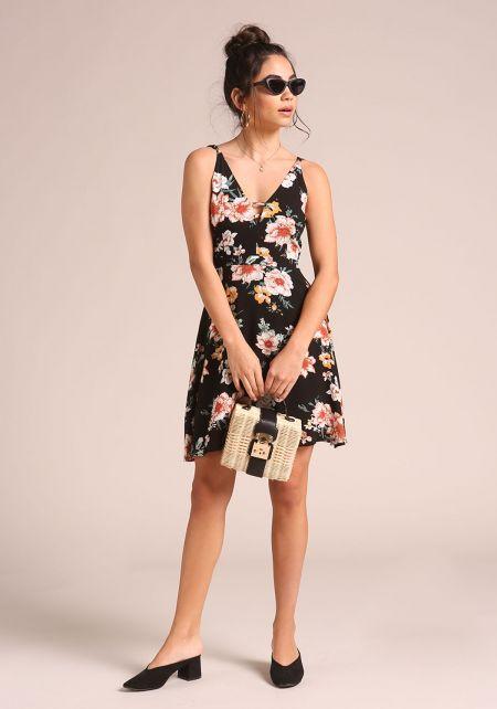Black Multi Strap Floral Flared Dress