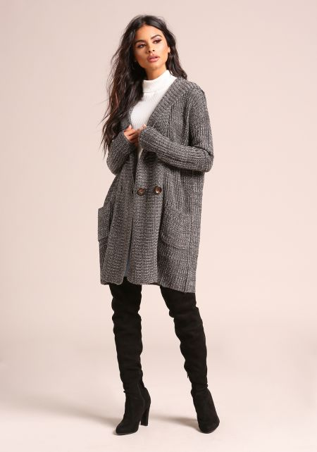 Charcoal Double Breasted Hooded Thick Knit Cardiga