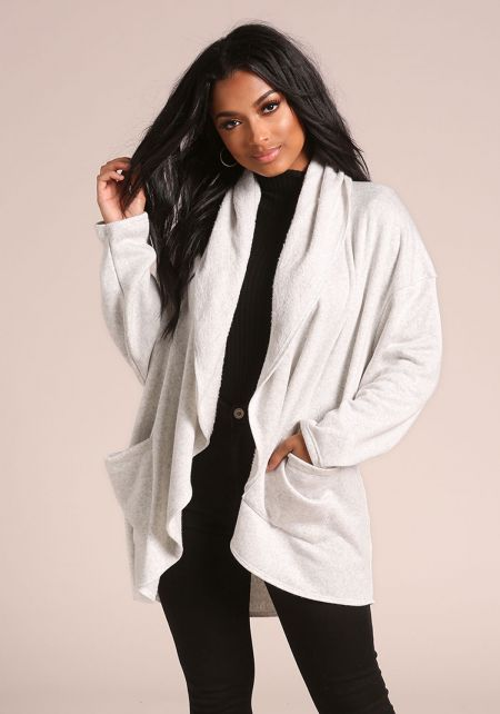 Grey Marled Hooded Pocket Cardigan