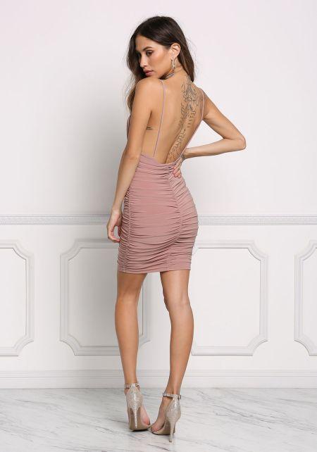 Mauve Ruched Deep V Bodycon Dress