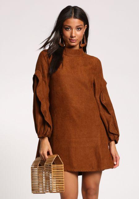 Brown Faux Suede Ruffle Puff Sleeve Shift Dress