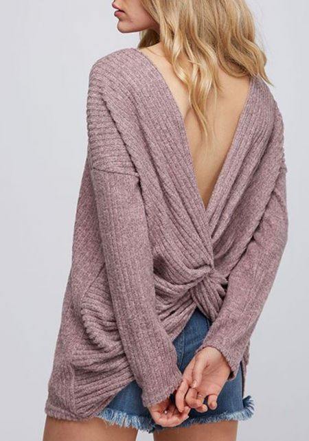 Mauve Twisted Low Back Ribbed Knit Sweater Top