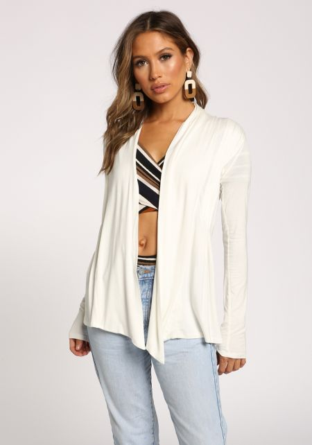 White Open Front Knit Cardigan