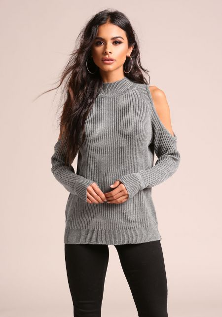 Grey Cold Shoulder Ribbed Knit Sweater Top