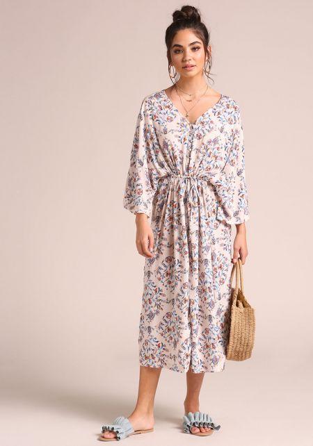 Multi Floral Button Down Slit Midi Dress