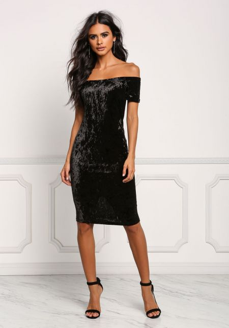 Black Off Shoulder Crushed Velvet Bodycon Dress