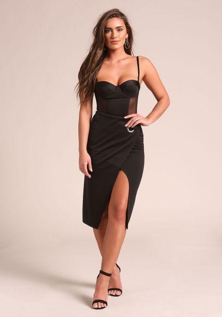 Black Layered Slit Midi Skirt