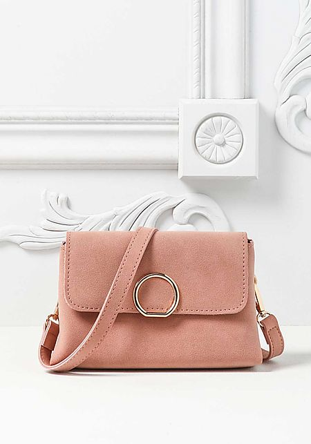 Pink Leatherette Mini Crossbody Bag