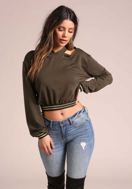 Olive Cut Out Stripe Hooded Pullover Crop Top