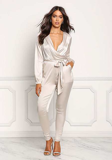Light Taupe Silky Plunge Surplice Jumpsuit