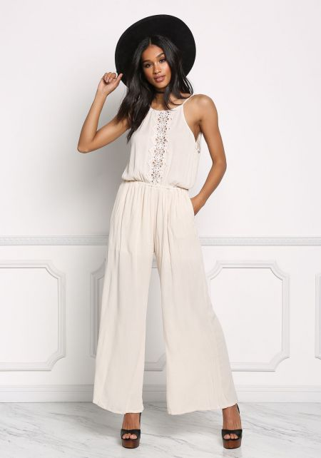 Natural Crepe Crochet Wide Leg Jumpsuit