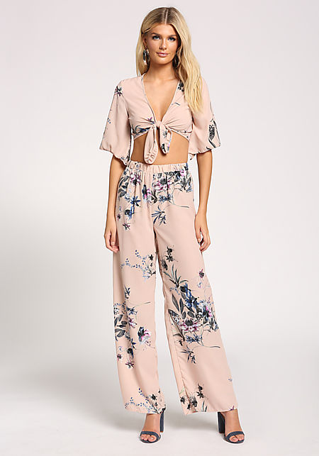 Peach Floral Palazzo Pants