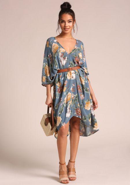 Blue Floral Caftan Midi Dress
