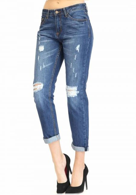 Blue Low Rise Boyfriend Jeans