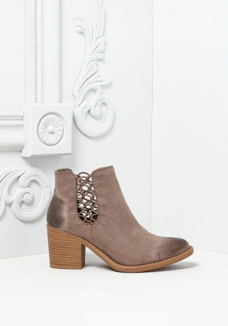 Taupe Suedette Caged Booties