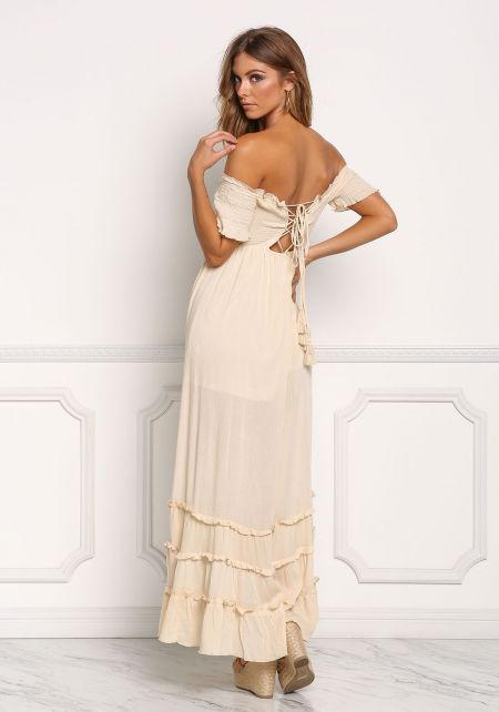 Natural Off Shoulder Smocked Lace Up Maxi Dress