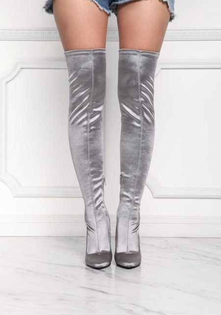 Silver Lustrous Over The Knee Boots