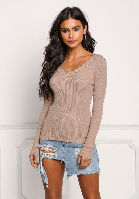 Khaki Ribbed Knit Long Sleeve Top