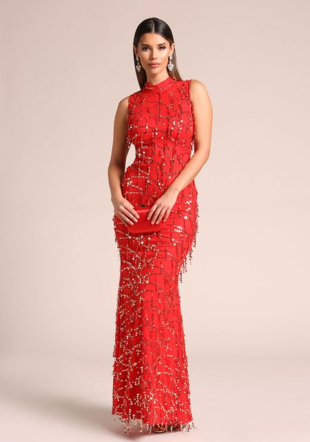 Red Sequin Side Lace Up Maxi Gown
