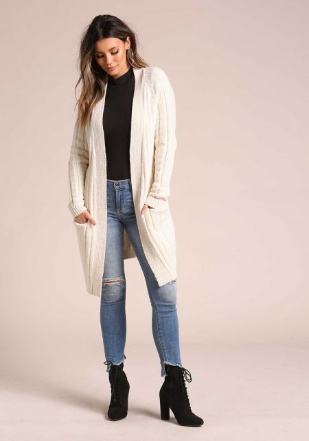 Cream Soft Thick Ribbed Knit Pocket Cardigan