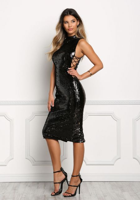 Black Sequin Side Lace Up Bodycon Dress