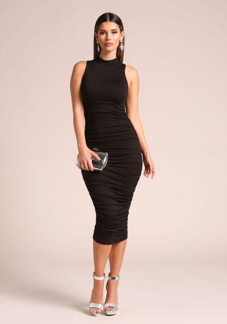 Black Ruched Midi Bodycon Dress