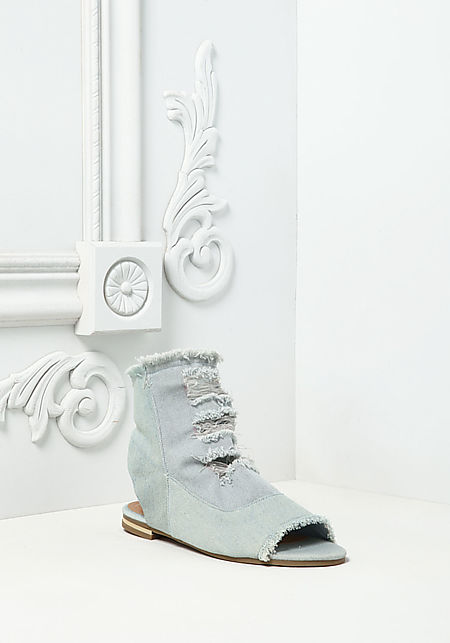 Light Denim Distressed Ankle Sandals