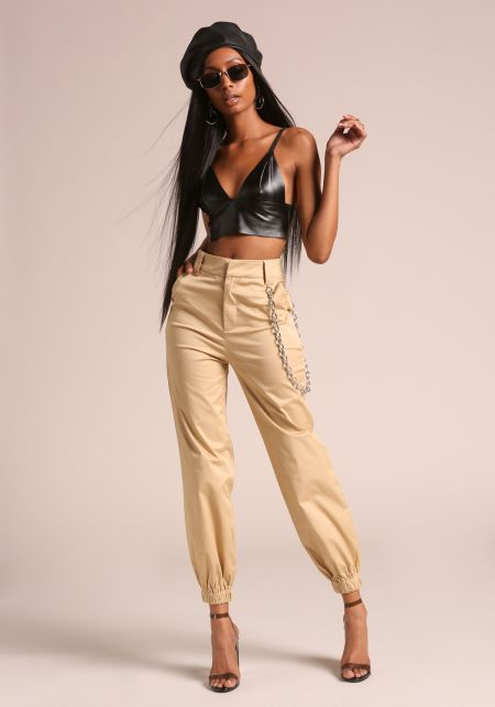 Khaki Chained Jogger Trousers