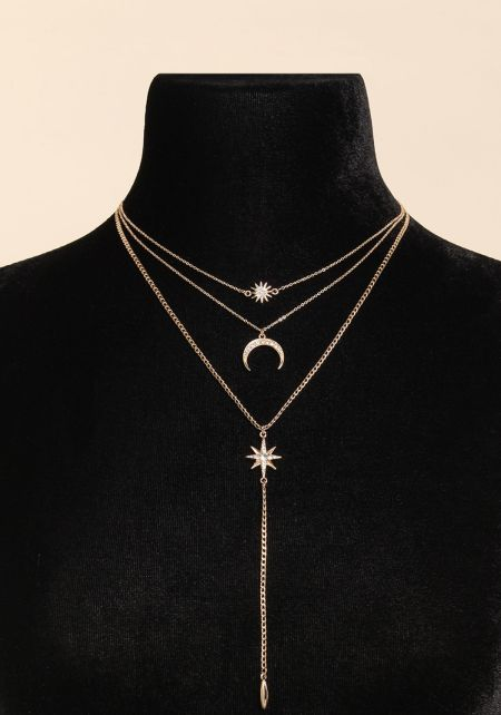 Gold Rhinestone Moon Delicate Layered Necklace