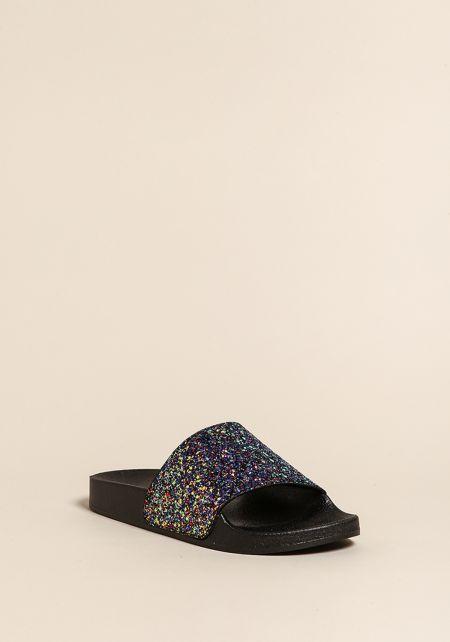 Black Glitter Slide Sandals