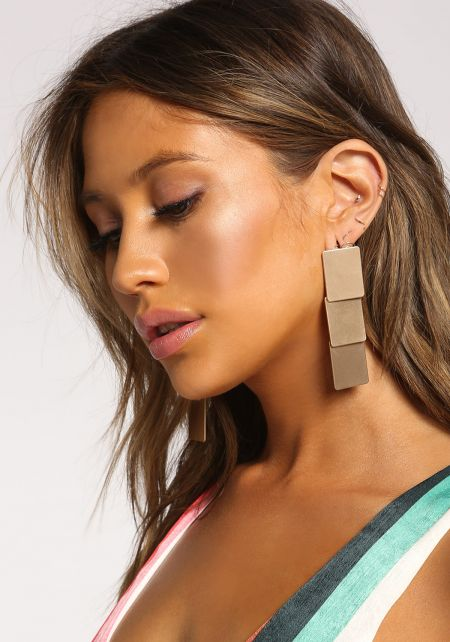 Gold Square Tiered Drop Earrings