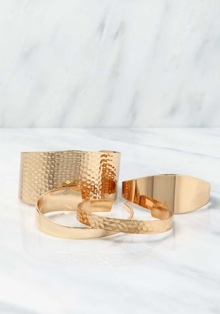 Gold Textured Thick & Thin Cuff Bracelet Set