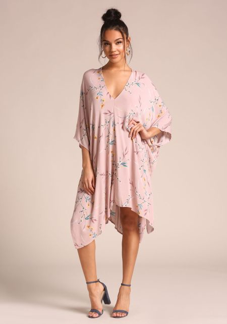 Blush Floral Caftan Midi Dress