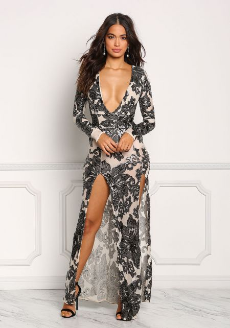 Nude Mesh Sequin Plunge High Slit Maxi Gown