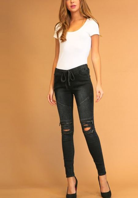 Black Embossed Zipper Trim Drawstring Jeans