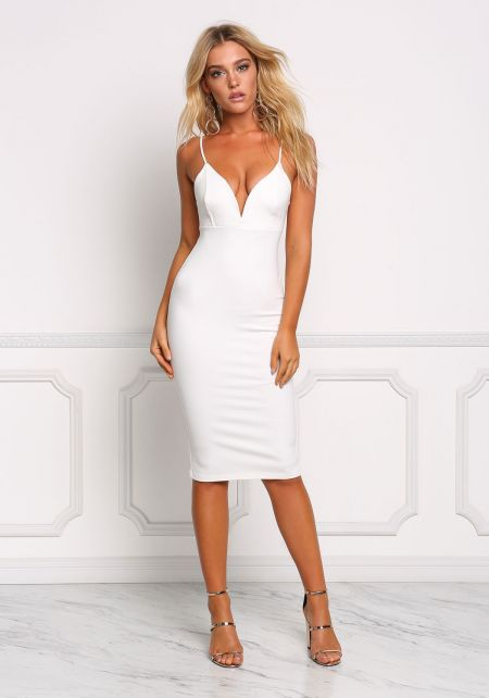 Ivory Plunge Sleek Bodycon Dress