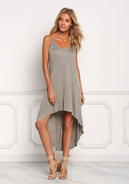 Light Olive Hi-Lo Midi Dress