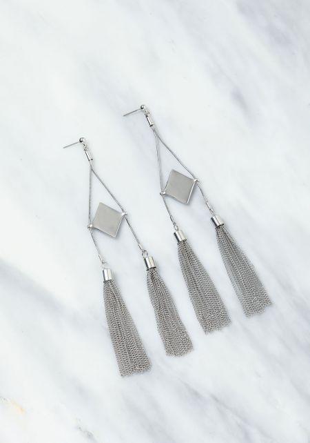 Silver Double Tassel Earrings
