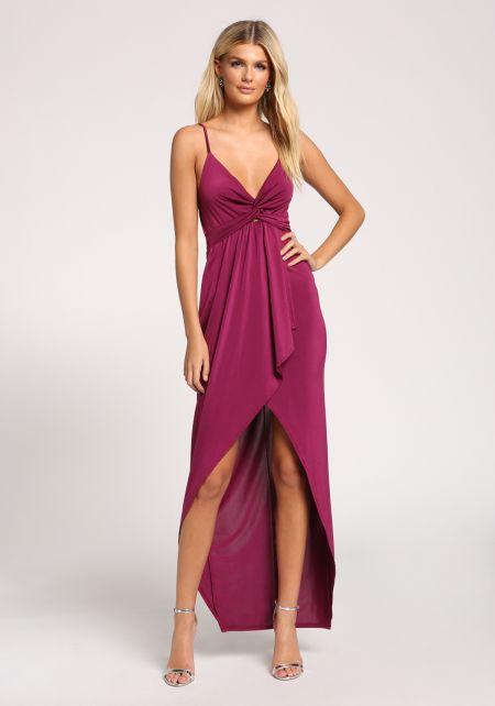 Plum Twisted Faux Wrap Hi-Lo Maxi Dress