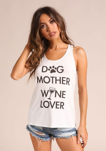 Ivory Dog Mother & Wine Lover Tank Top