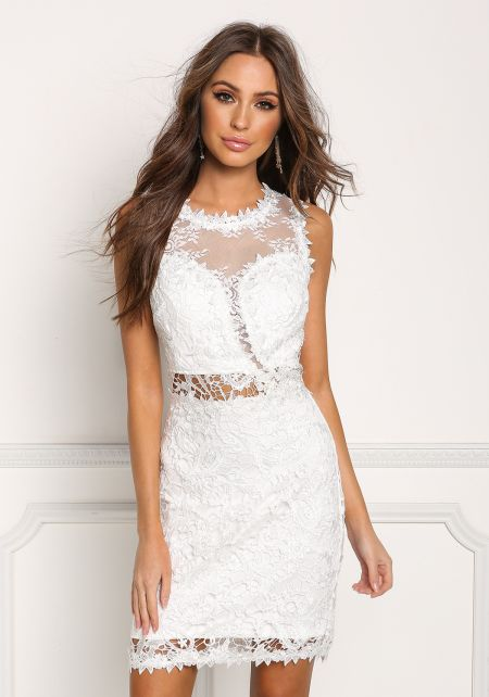 Ivory Tulle Floral Embroidered Dress