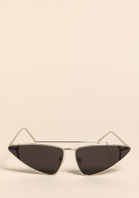 Silver and Black Pointed Top Bar Sunglasses