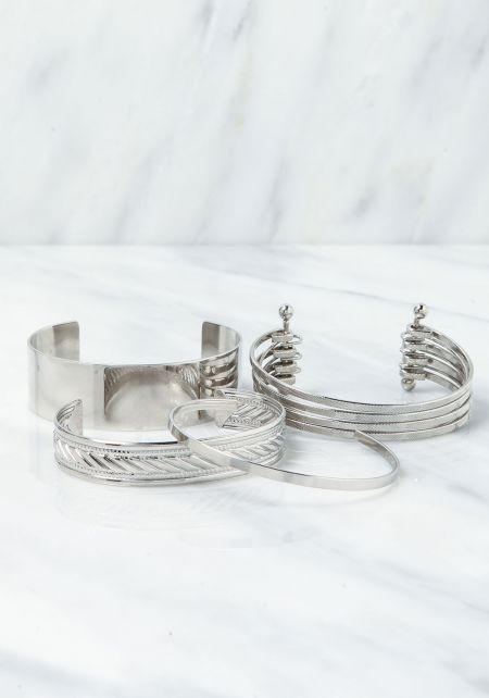 Silver Cuff Assorted Bracelet Set