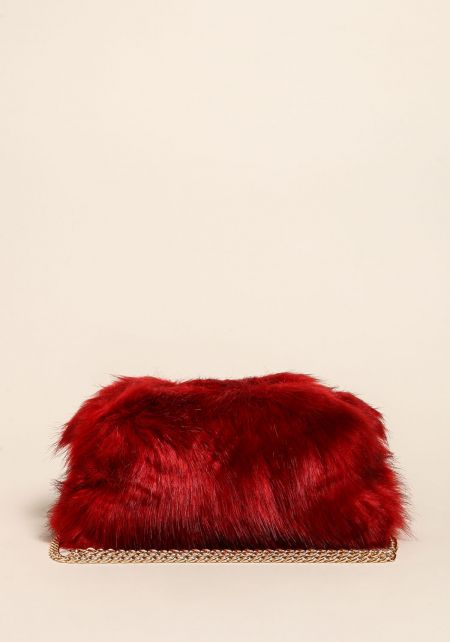 Red Shaggy Faux Fur Clutch