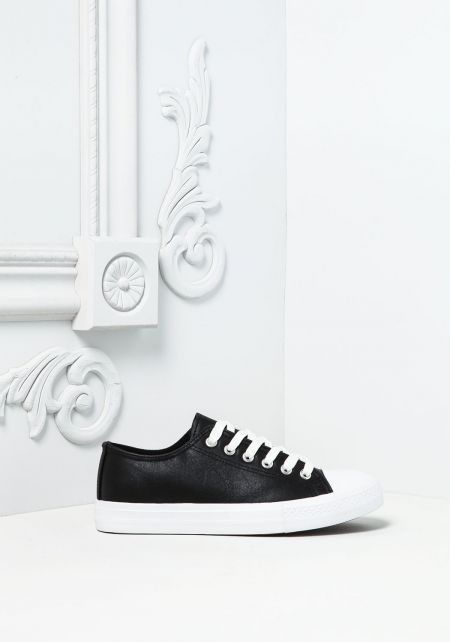 Black Leatherette Lace Up Sneakers