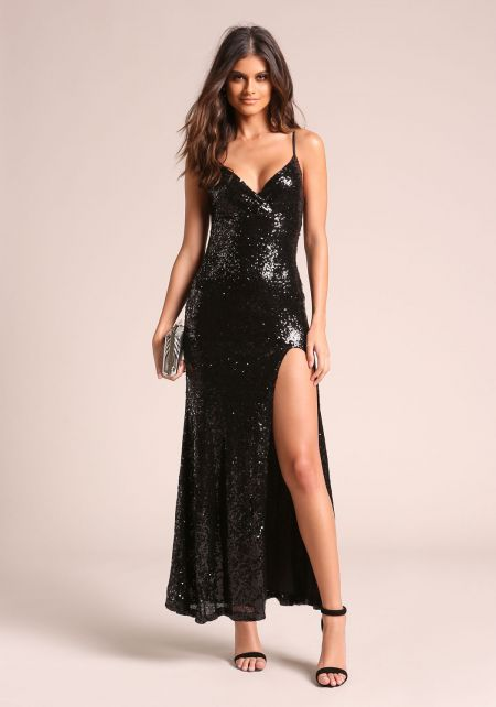 Black Sequin High Slit Maxi Gown