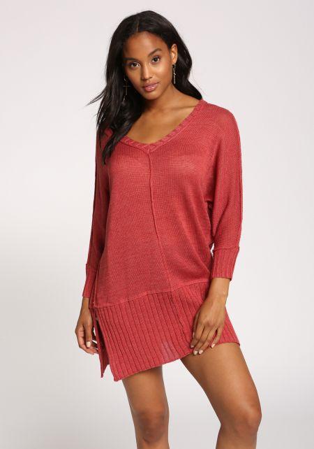Brick Tunic Slit Sweater Top