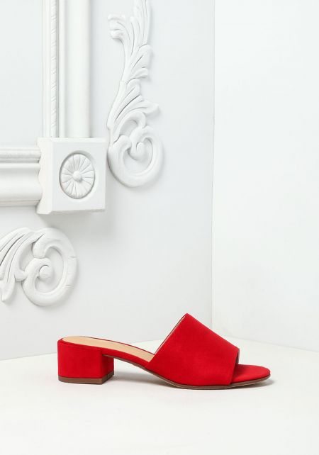 Red Suedette Slide Sandals