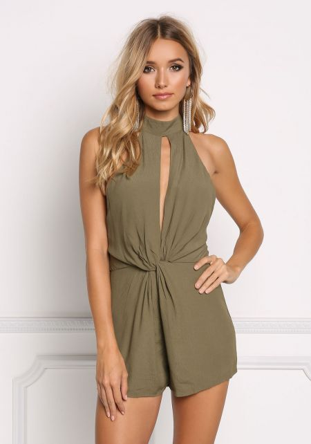 Olive Twisted Cross Strap Romper