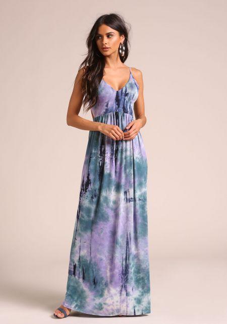 Purple Tie Dye Low Back Maxi Dress